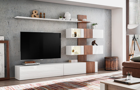 OTRANTO modern wall unit with LED Lights, stylish combination White Matt and Oak