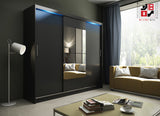 AVA 1.4 - 3 Sliding door wardrobe with LED Lights and the best separator shelf system >250cm<
