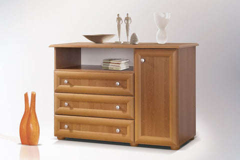 LILY II - Modern Door Chest with 3 Drawers and RTV Stand >120cm<