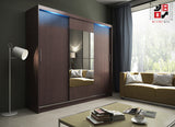 AVA 1.4 - 3 Sliding door wardrobe with LED Lights and the best separator shelf system >250x218cm<