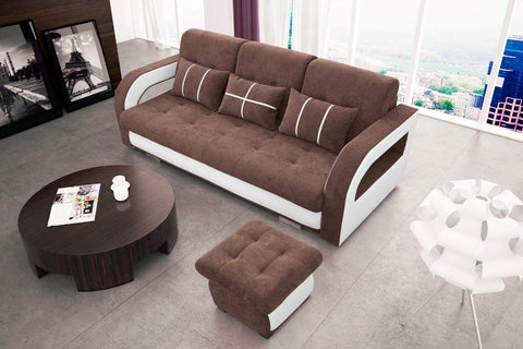 NINA - Modern Sofa Bed With Pouf >235x110cm<