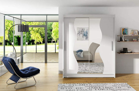 BRAVA S - 2 sliding door WHITE wardrobe with huge capacity >180cm width< FAST DELIVERY