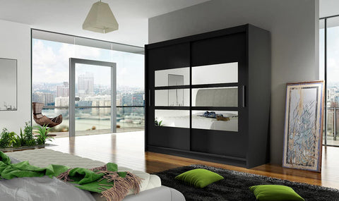 BRAVA III - 2 sliding door BLACK wardrobe with huge capacity >180cm width< FAST DELIVERY