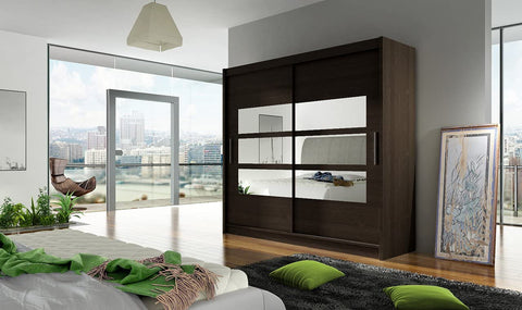 BRAVA III - 2 sliding door WENGE wardrobe with huge capacity >180cm width< FAST DELIVERY