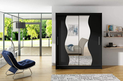 BRAVA S - 2 sliding door BLACK wardrobe with huge capacity >180cm width< FAST DELIVERY
