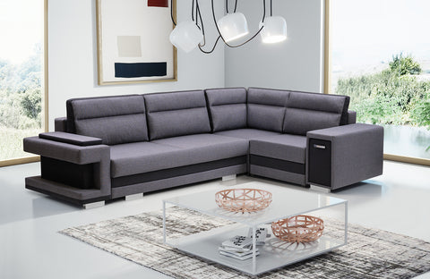 ASTA1 - Functional and modern corner sofa bed with drawer, 2 storages and pull out bed >305x203cm<