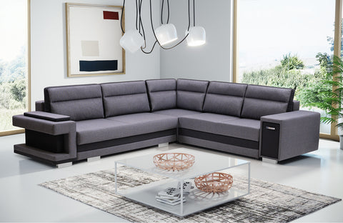 ASTA2 - Functional and modern corner sofa bed with drawer, 2 storages and pull out bed >305x272cm<