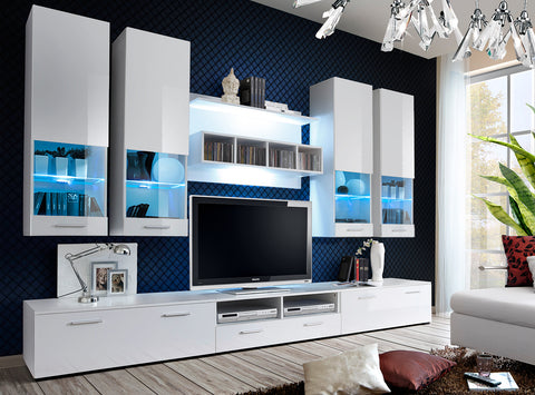 TAURO stunning furniture set, wall unit with LED Lights