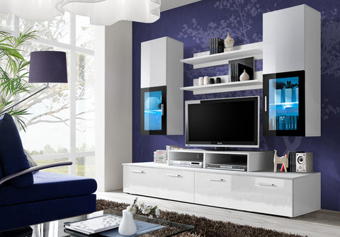 ALBE small, classy wall unit with LED Lights and High Gloss fronts