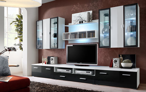 NEMI big, elegant furniture set, wall unit with LED Lights