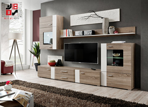 ALEPPO - Unique wooden TV wall unit with corrugating white inserts - Wardrobe-Bunk-Bed-Sofa