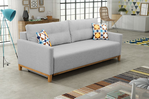 Orion - Modern Sofa Bed with Storage, Pull Out Bed and Cushions. Various Colours >213x101cm<