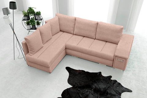 ARNIE - Modern Corner Sofa Bed with Storage, Drawer and Pull Out Bed. 6 Colours >244x189cm<