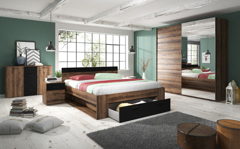 MERSIN 2 Elegant Bedroom Set, Wardrobe, Bed with Drawer, Bedside Tables, Chest of Drawers. Monastery Oak / Black. NEW COLLECTION