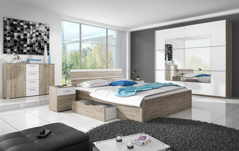 MERSIN 1 Elegant Bedroom Set, Wardrobe, Bed with Drawers, Bedside Tables, Chest of Drawers. San Remo Oak / White. NEW COLLECTION