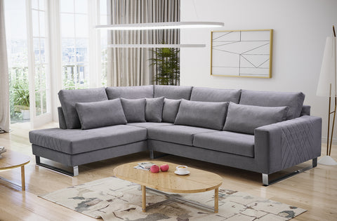 CORNELIA - Elegant Corner Sofa with beautiful design and chrome legs >314x224cm<