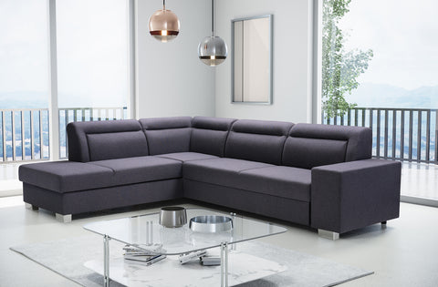 DENVER - Modern Corner Sofa Bed with Storage and Pull Out Bed >285x220cm<