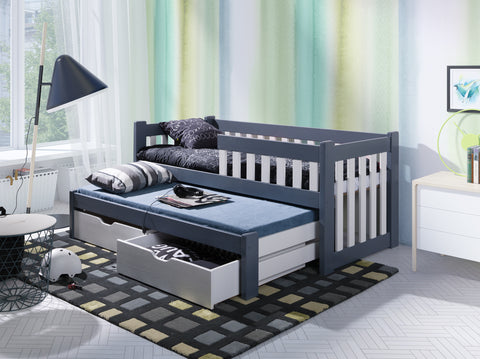 FRANKIE - Single bed with trundle bed for 2 kids. All made of pine wood. NEW COLLECTION