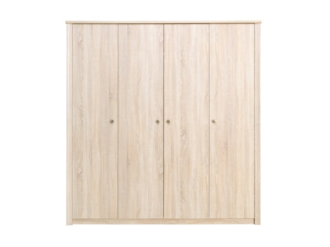 WALTZ 3 - Elegant Wardrobe with Natural Light Wooden Look - 4 doors >200cm<