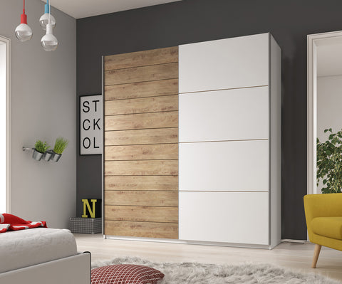 GENESIS I - solid wardrobe with sliding doors, hanging rail, shelves and big capacity >200cm width<