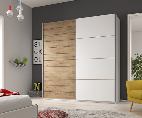 GENESIS II - solid big wardrobe with sliding doors, hanging rail, shelves and big capacity >220cm width<