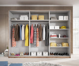 GENESIS III - large solid wardrobe with sliding doors, hanging rail, shelves and big capacity >270cm width<