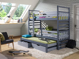 HIPOLIT - Just great triple bunk bed with 2 drawers, mattresses and great design