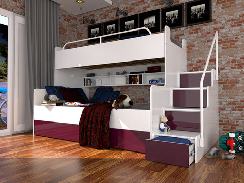JESSIE 3B - bunk bed with stairs, shelves and many drawers. High gloss inserts