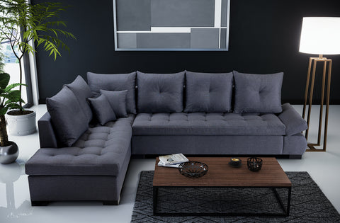 ARISTOCRAT - Very comfortable and elegant Corner Sofa with silicone in seats and awesome set of cushions >320x223cm<