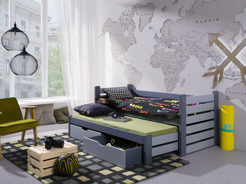 MILLY - Single bed with trundle bed for 2 kids. All made of pine wood. NEW COLLECTION