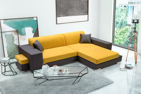 MARINARA - Modern Corner Sofa Bed with Footstool, Storage and Pull Out Bed >290x177cm<