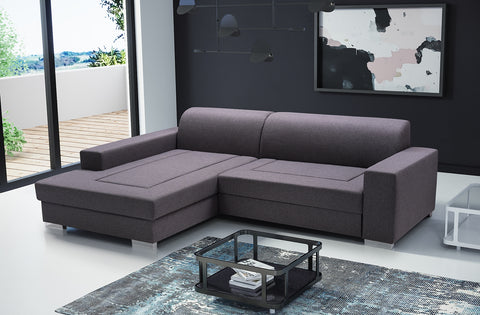 MALLOW - Modern Corner Sofa Bed with Storage and Pull Out Bed >260x177cm<