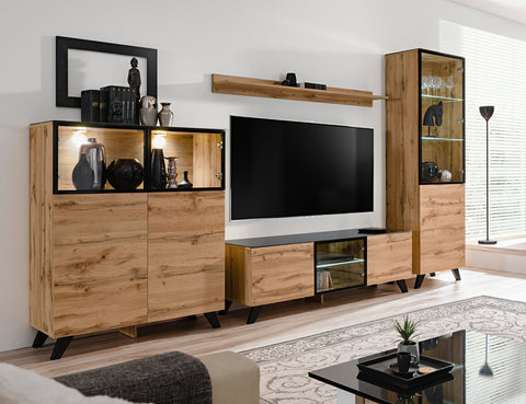 FONDI elegant living room set, wall unit with LED Lights