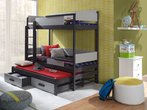 BUENO III - Solid as bunker triple bunk bed with great functional