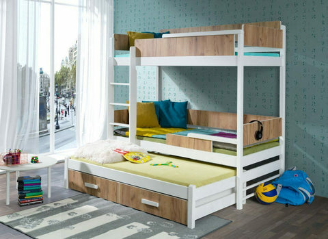 QUATRO III - Solid as bunker triple bunk bed with great functionality. Many colours!