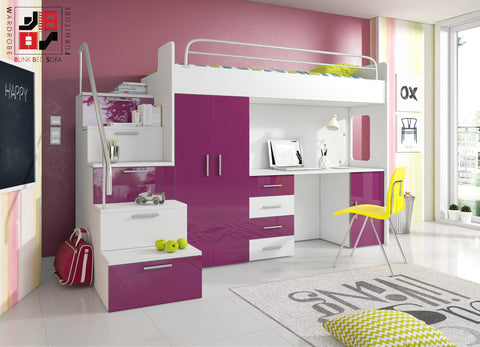 PARADISE I - bunk bed for children with furniture set, modern design and functional