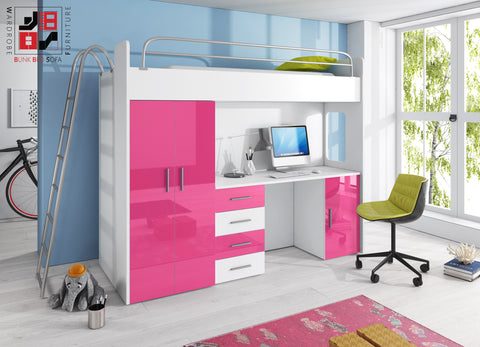 PARADISE II - bunk bed for children with furniture set, modern design and functional