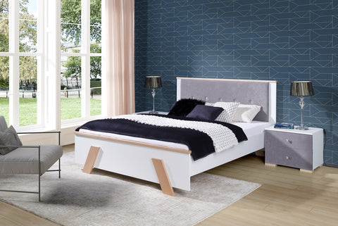 ALCALA Classic Bedroom Bed, White and Beech Wood, Bedside Table option NEW COLLECTION