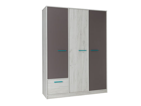 ANDORA II - Classy Wardrobe With Many Shelves, Drawer and 2 Hanging Rails >145cm<