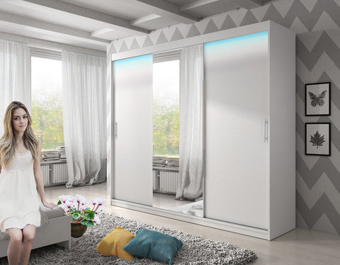 ARCTIC 2 - 3 Sliding door wardrobe with LED Lights, hanging rail and great situated shelves >250x200cm<