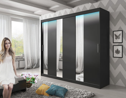 ARCTIC 6 - 3 Sliding door wardrobe with LED Lights, hanging rail and great situated shelves >250cm<