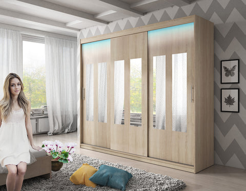 ARCTIC 3 - 3 Sliding door wardrobe with LED Lights, hanging rail and great situated shelves >250cm<