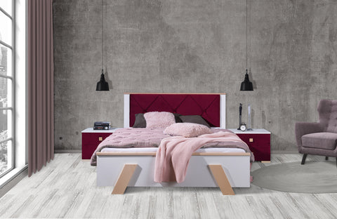 ANKONA Modern Bedroom Bed, White and Beech Wood, Bedside Table option NEW COLLECTION