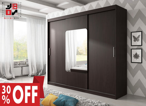 AVA 8.4 - 3 Sliding door wardrobe with LED Lights and the best separator shelf system >250x218cm<