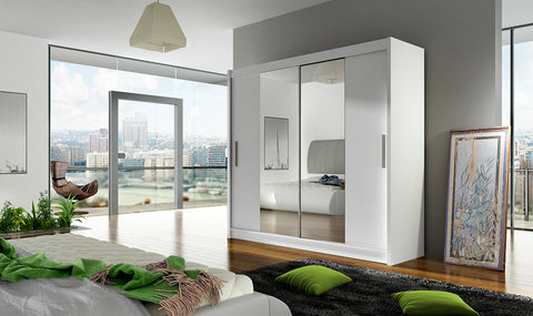 BRAVA II - 2 sliding door WHITE wardrobe with huge capacity >180cm width< FAST DELIVERY