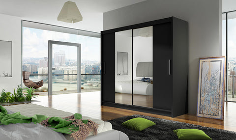 BRAVA II - 2 sliding door BLACK wardrobe with huge capacity >180cm width< FAST DELIVERY