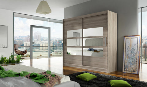 BRAVA III - 2 sliding door TRUFFLE wardrobe with huge capacity >180cm width< FAST DELIVERY