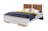 VALLE Lovely Bedroom Bed, White and Beech Wood NEW COLLECTION