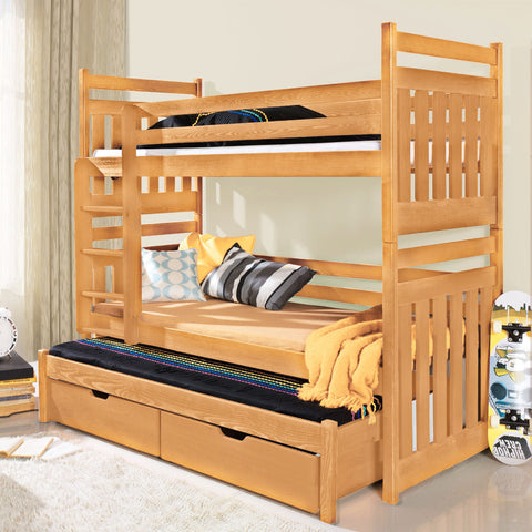 SAMBOR - Solid children Triple Bunk Bed. Colour: Beech - FAST DELIVERY
