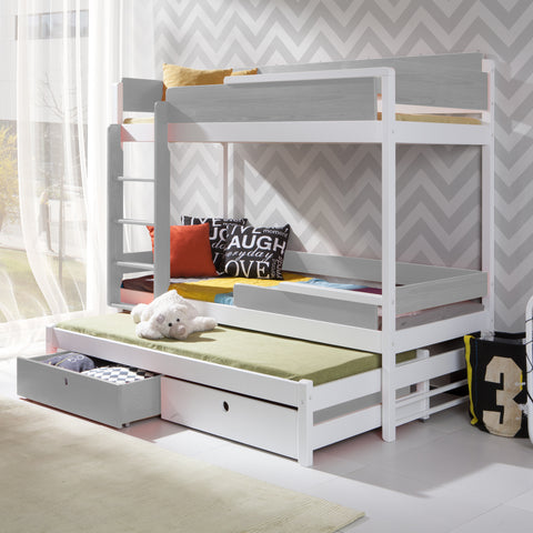 Tanu Iii Unique Triple Bunk Bed With Solid Construction Wardrobe